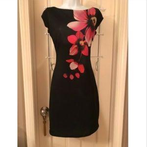 DESIGUAL SIGNATURE BLACK FLORAL TUNIC SHEATH DRESS